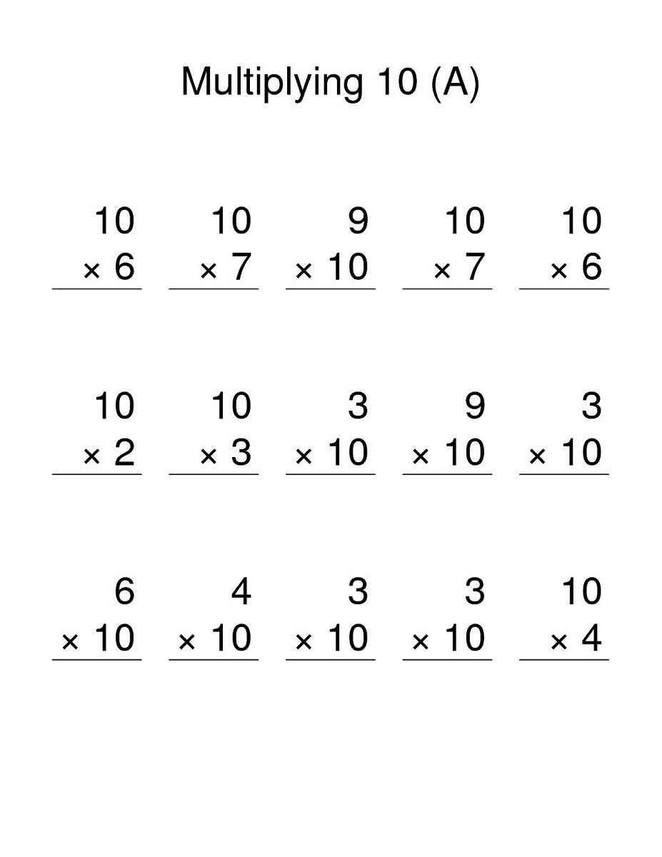 multiples of 10 worksheet simple