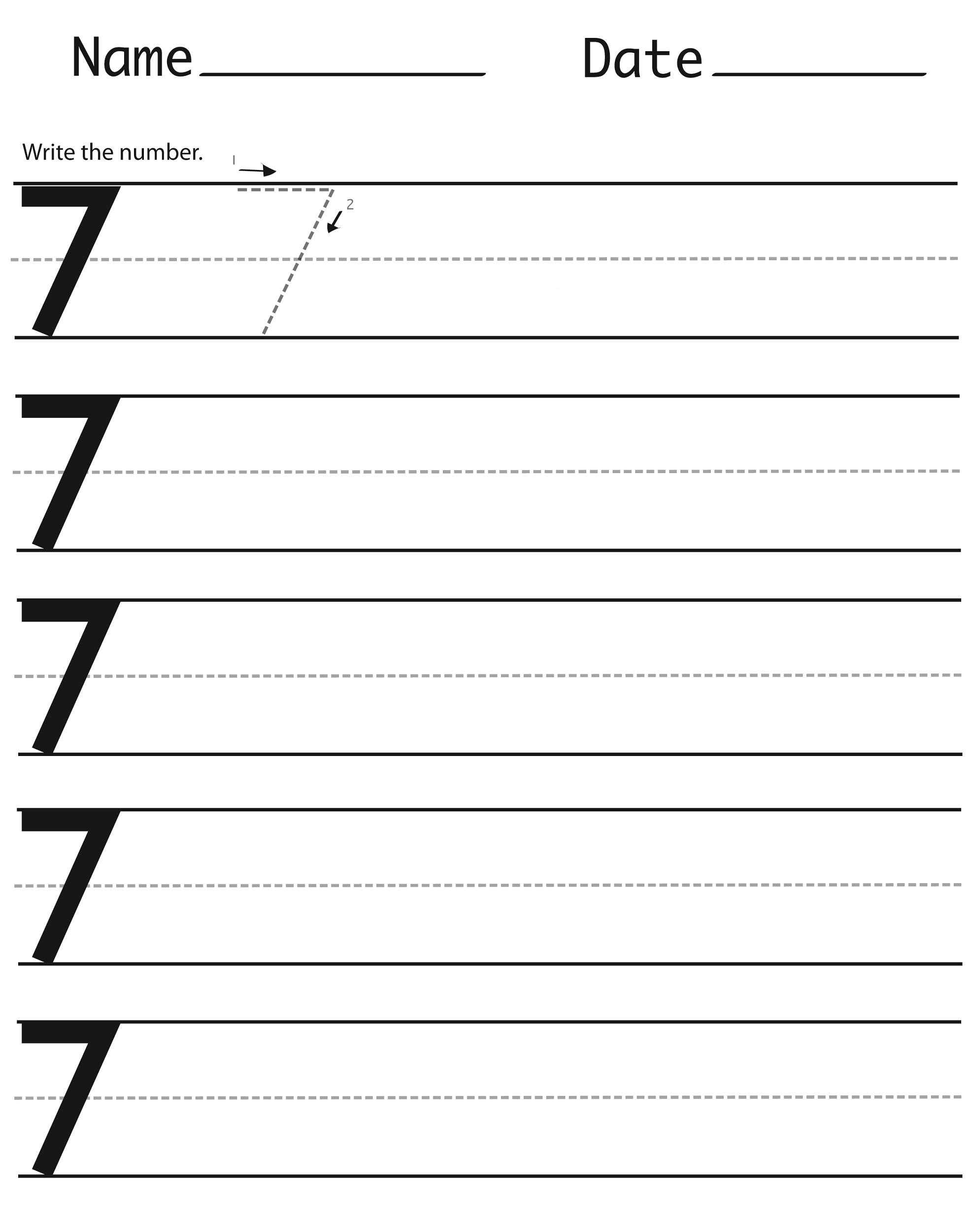 number 7 worksheet for toddlers