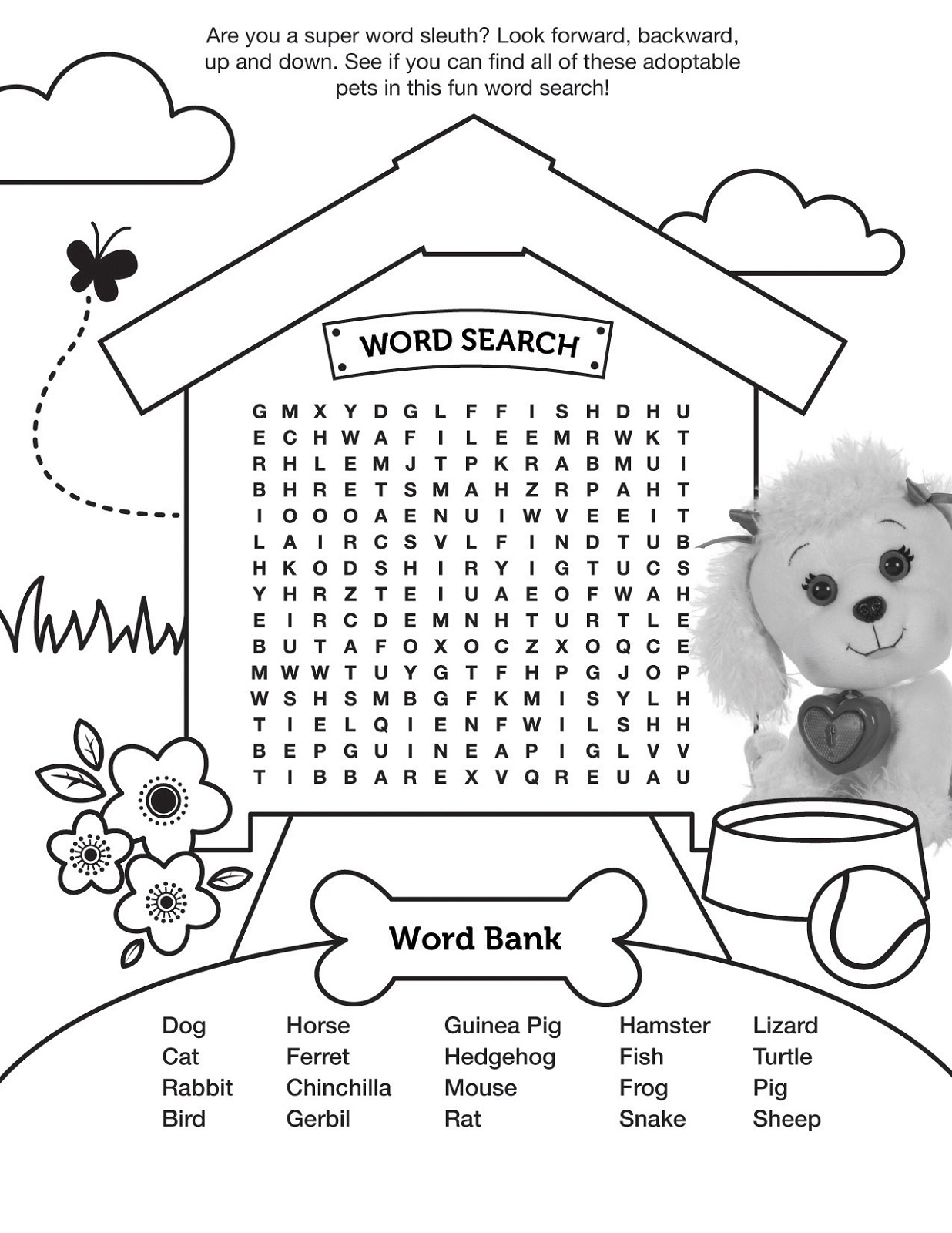 pet word search activity