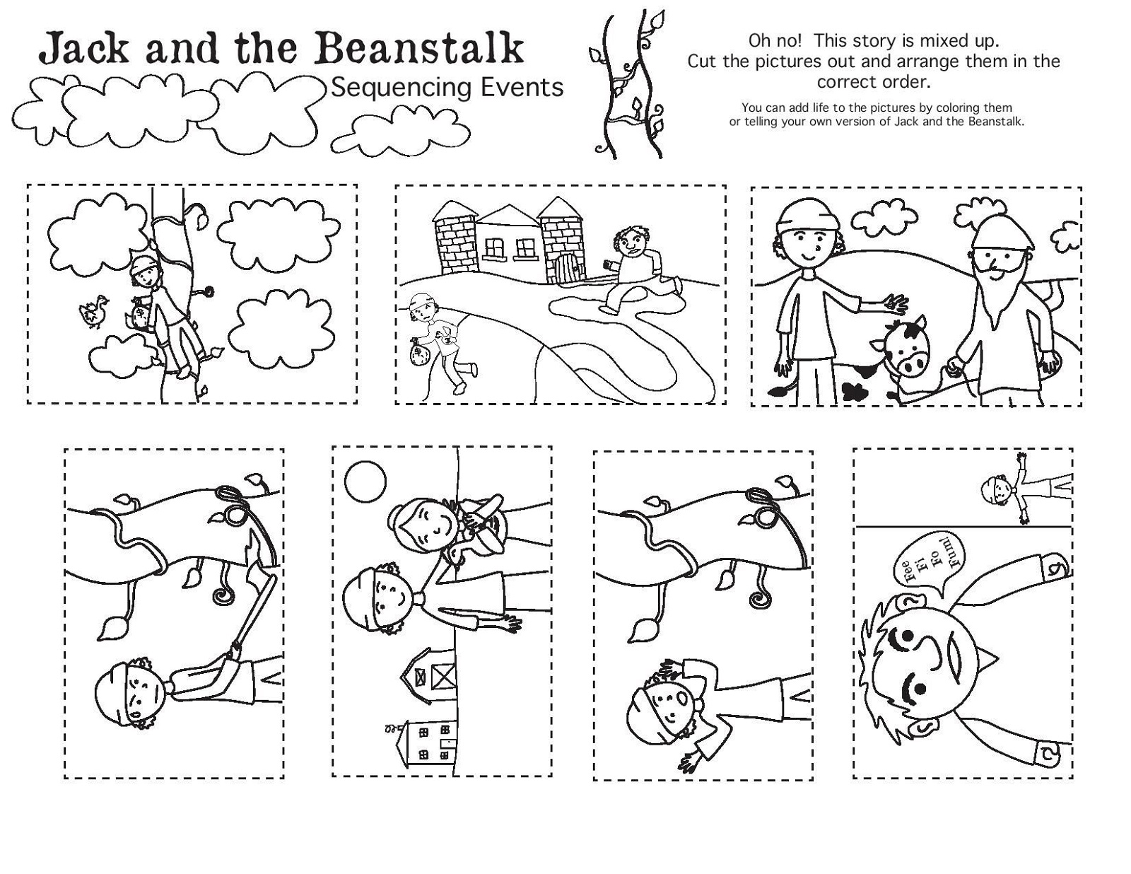 printable jack and the beanstalk worksheets