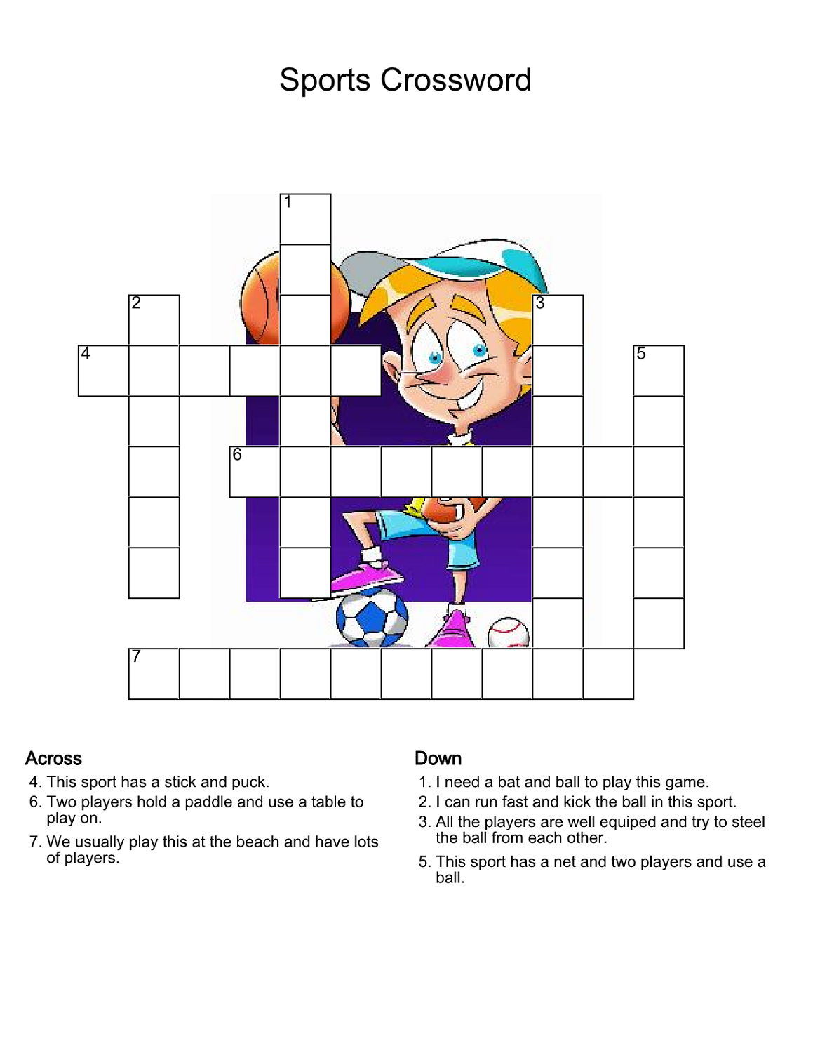 simple sports crossword puzzles for kids