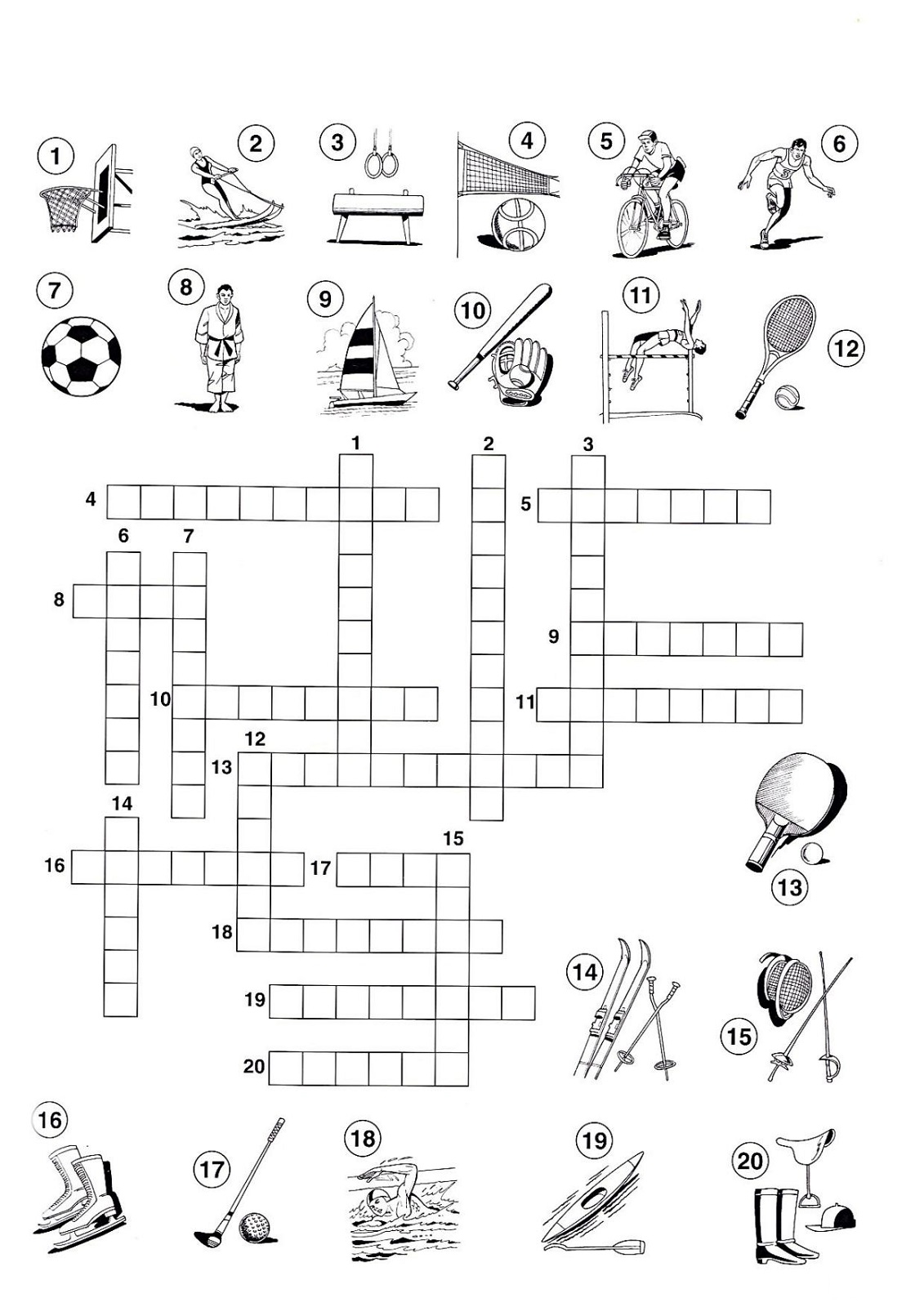 sports crossword puzzles for kids activity