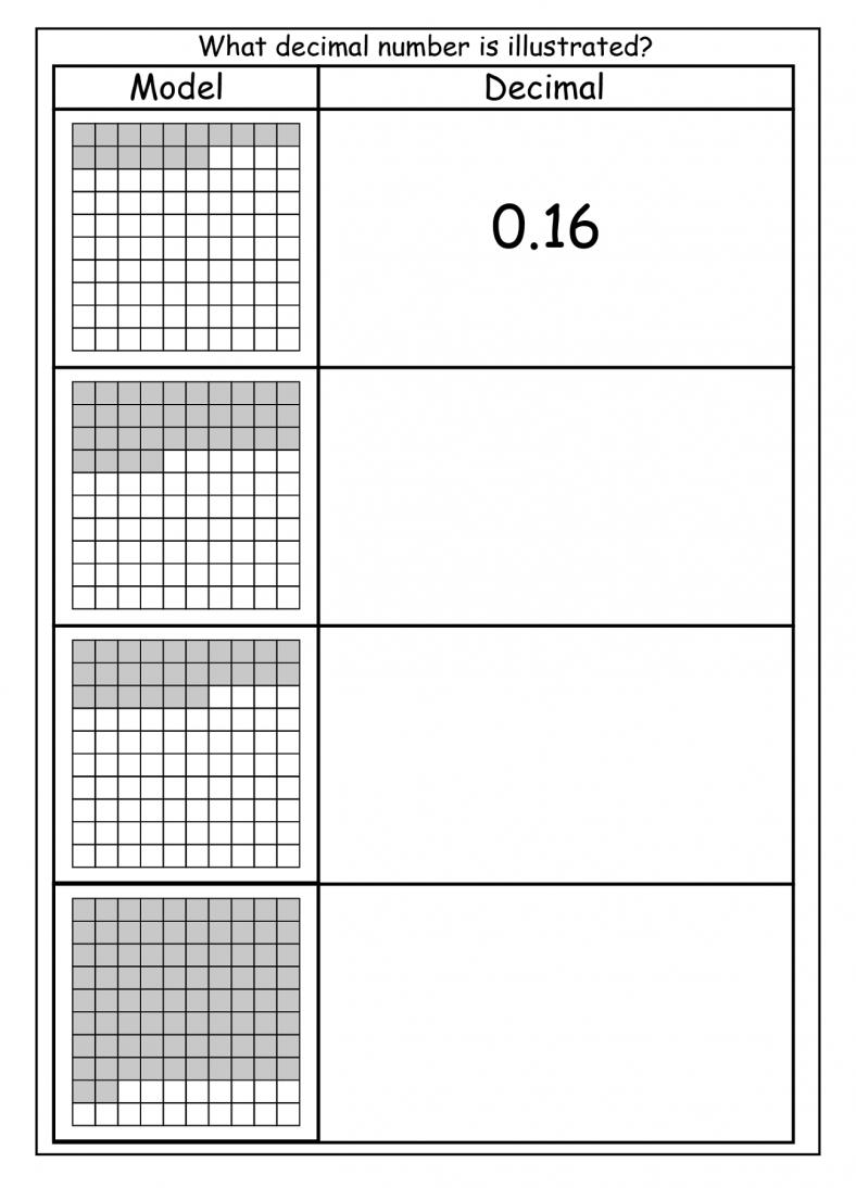 tenths and hundredths worksheet decimals
