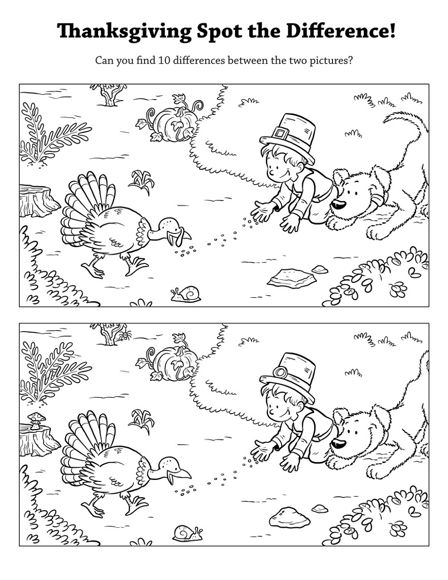 thanksgiving spot the difference worksheets