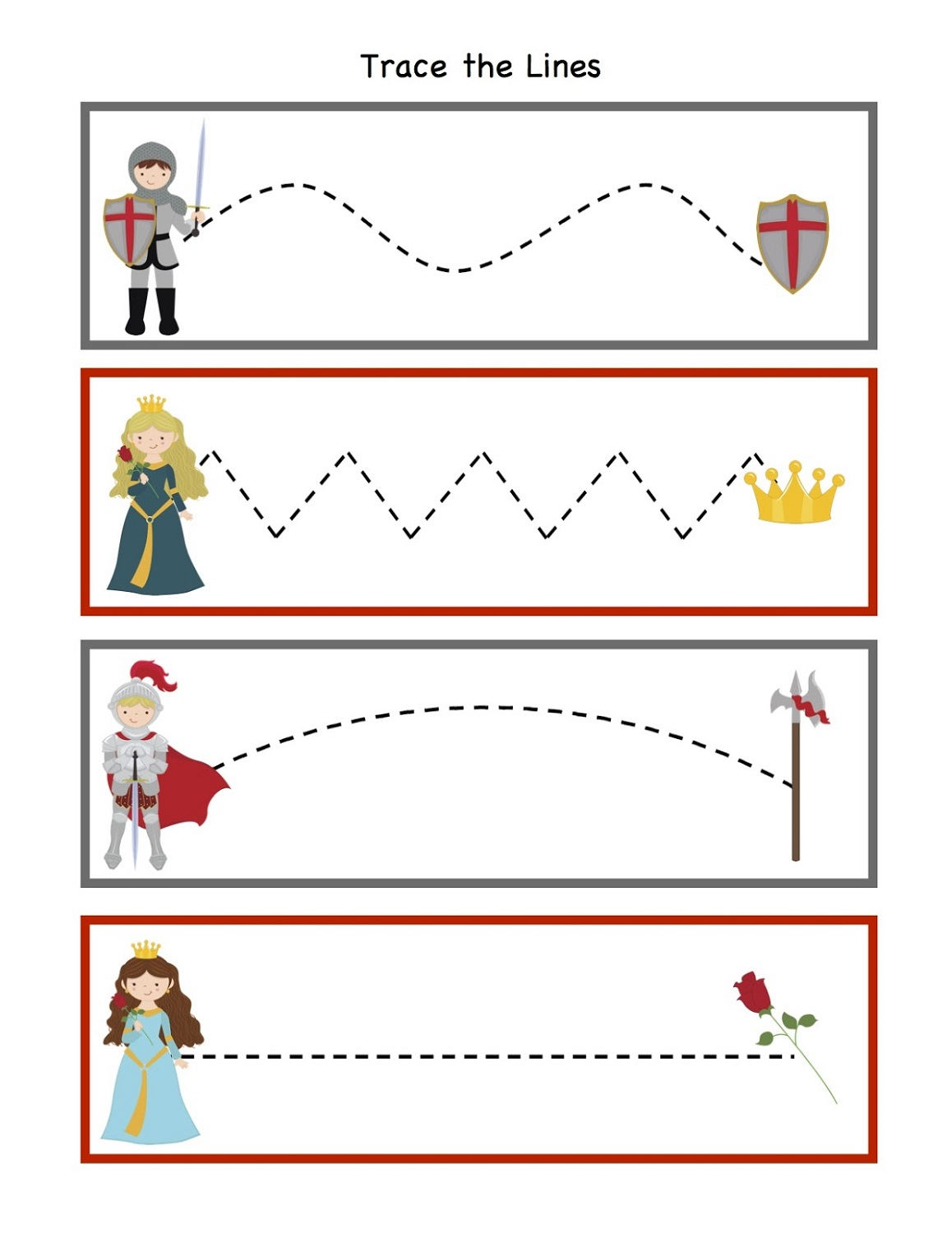 tracing medieval times activities for kids