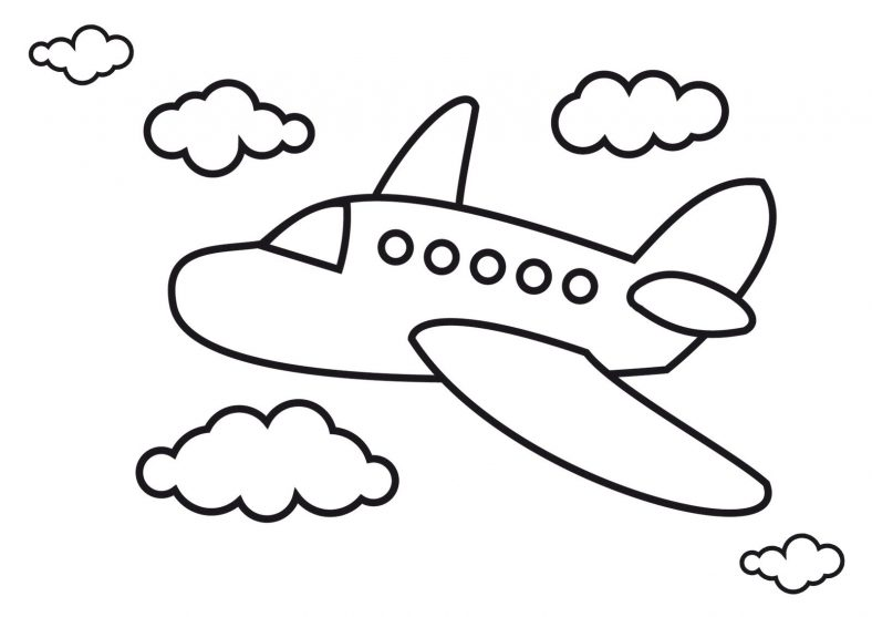 airplane color page for kids