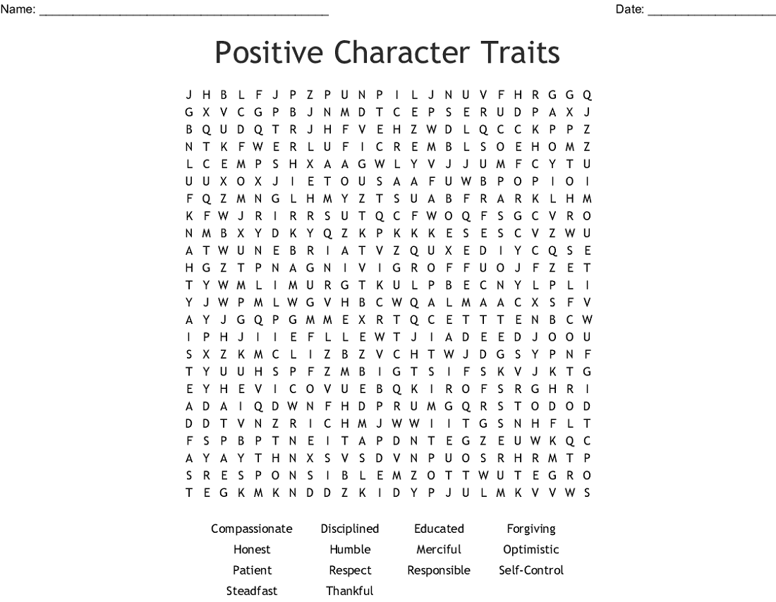 character traits word search activity