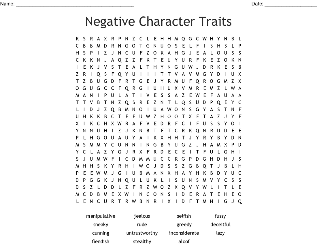character traits word search for fun