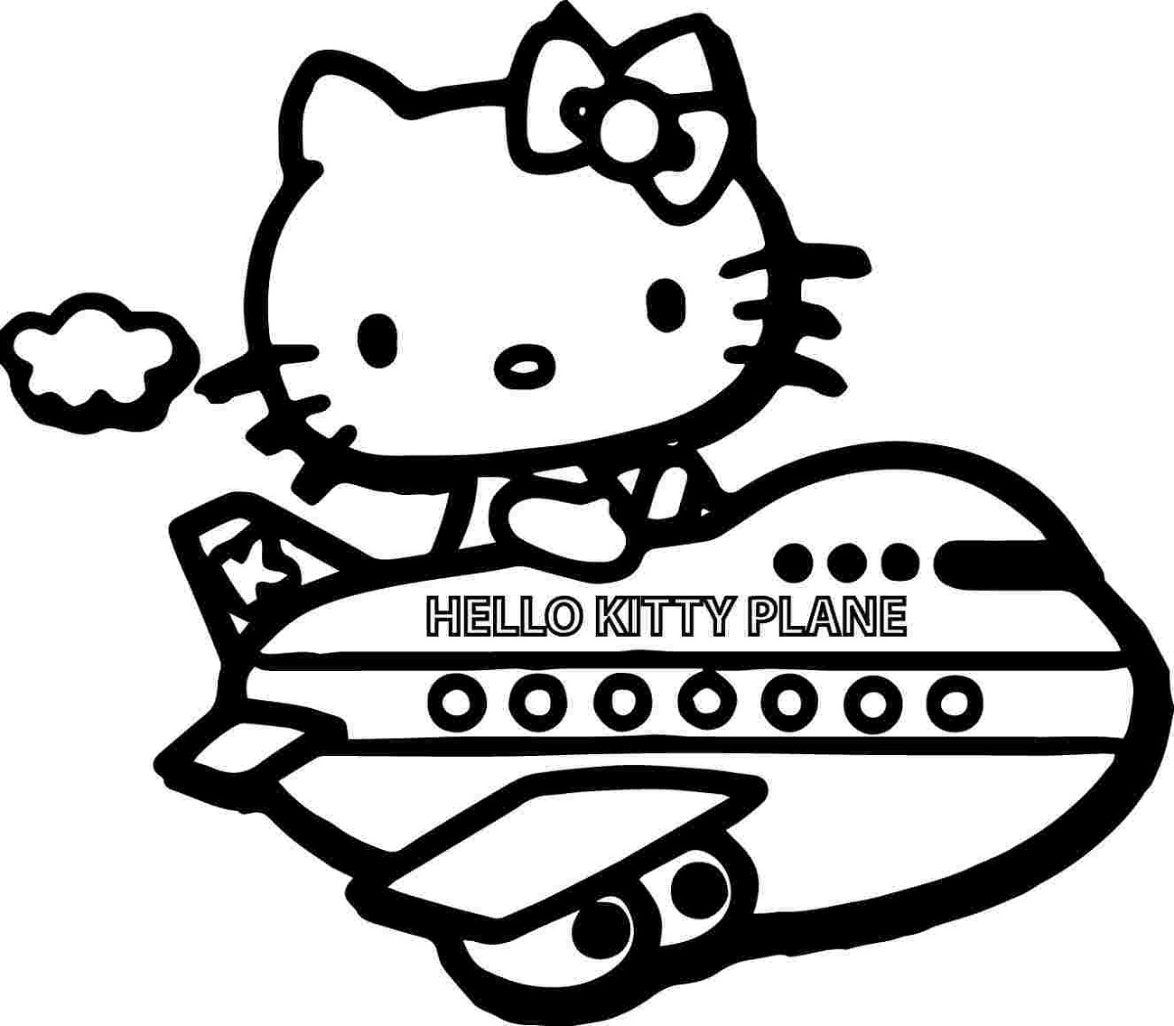 hello kitty airplane color page
