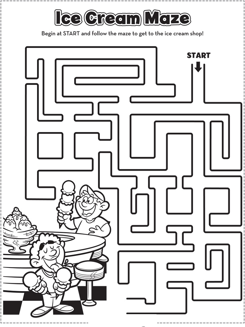 maze free activity pages for kids