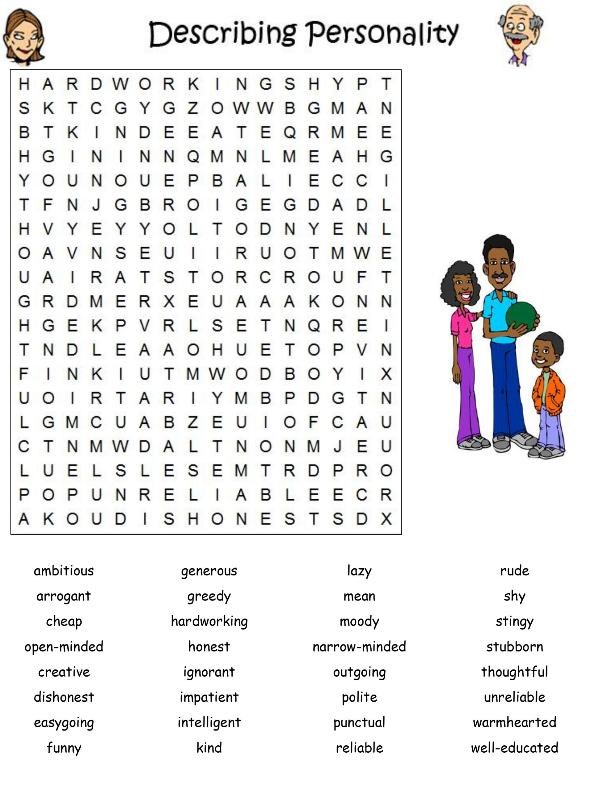 printable character traits word search