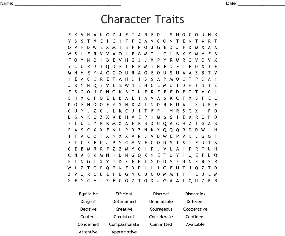 simple character traits word search
