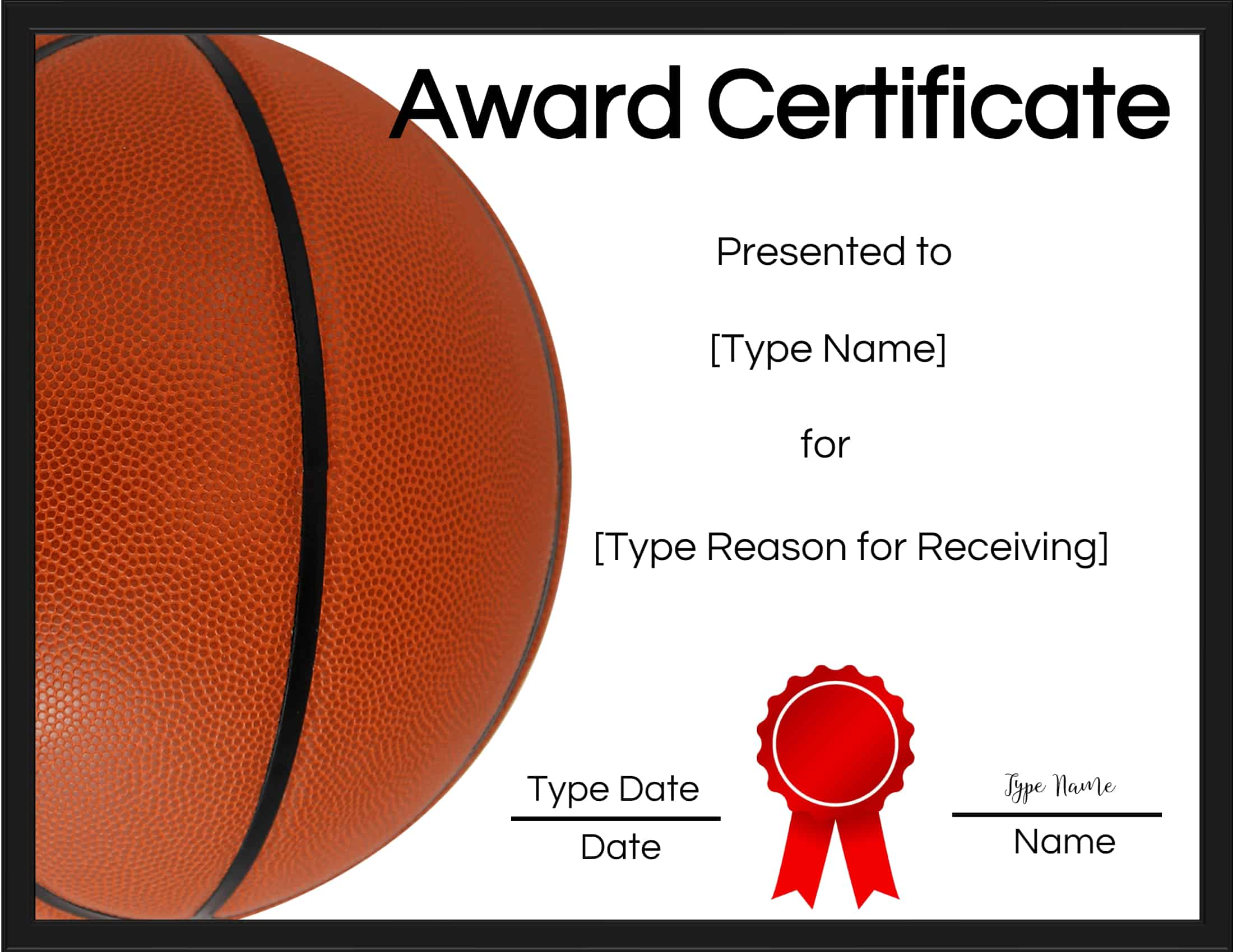simple free basketball certificates