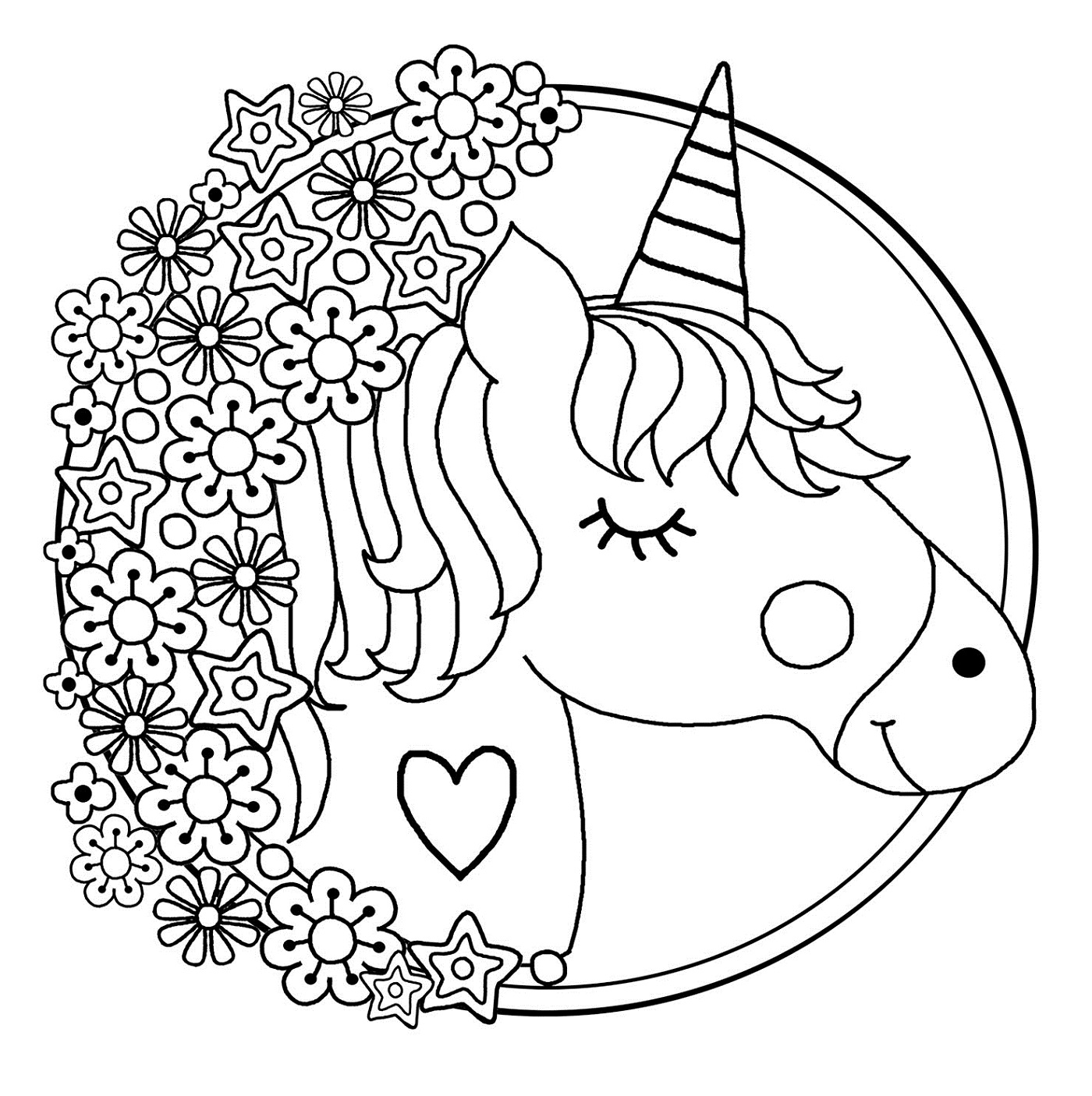 unicorn color pages for children