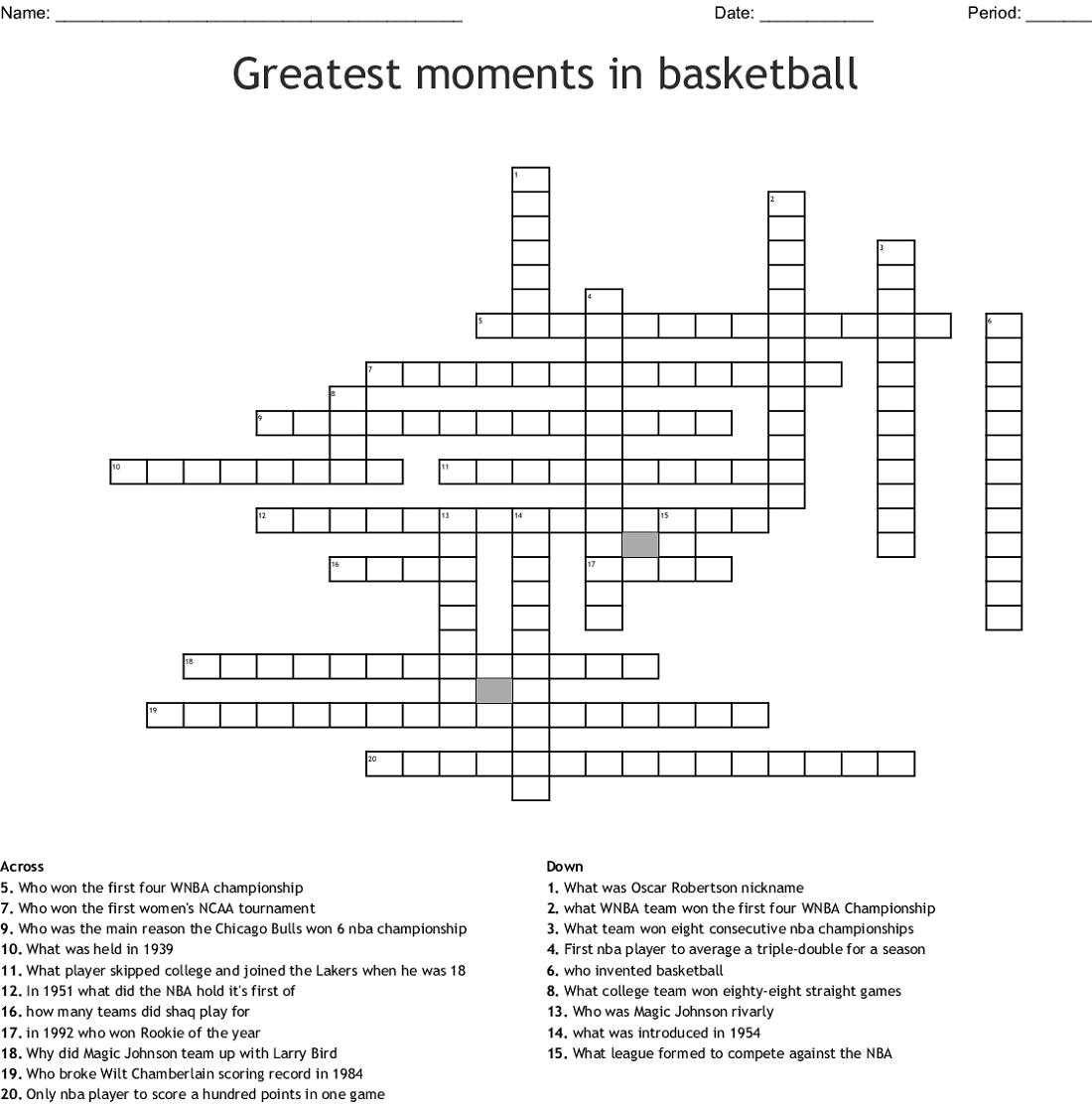 basketball crossword puzzle activity