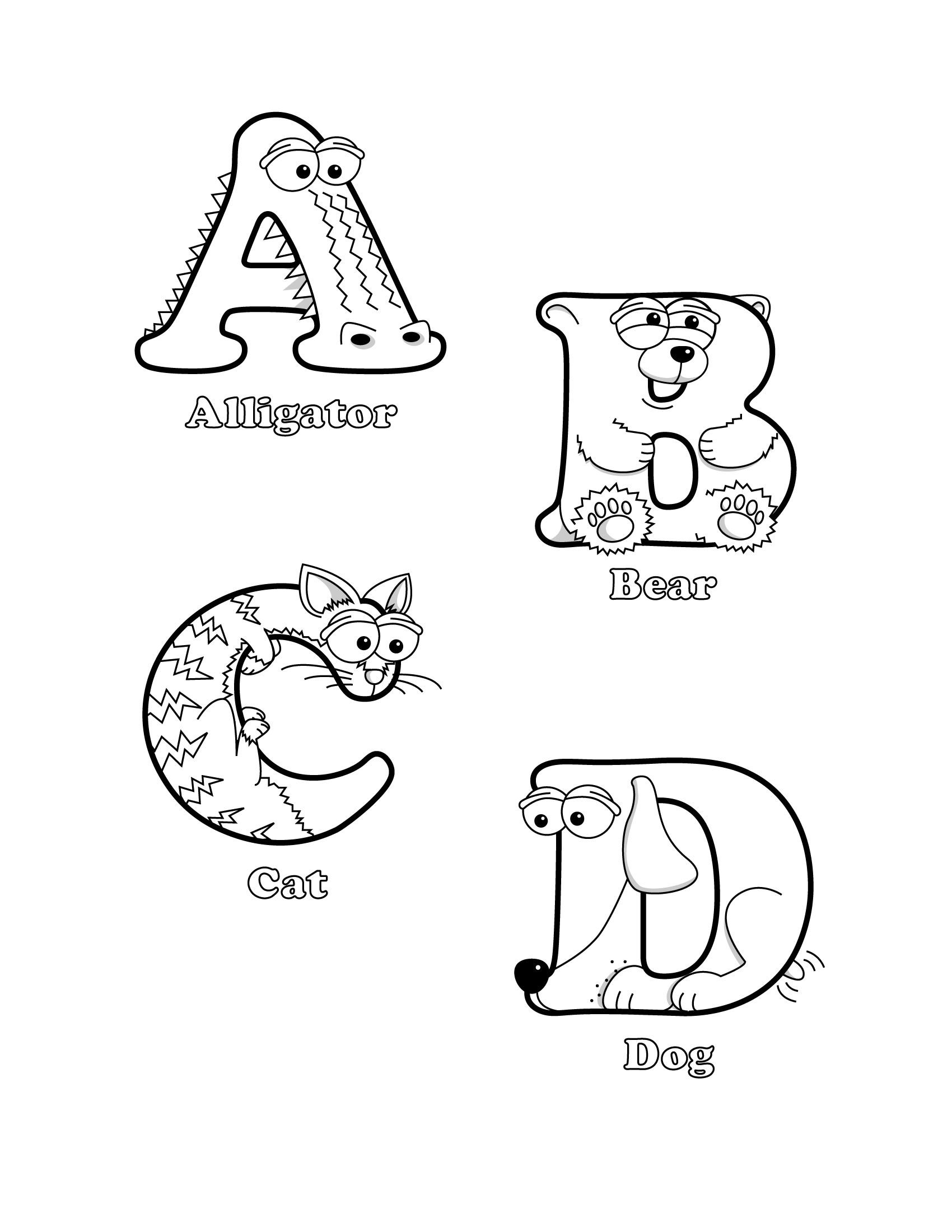 coloring animal shaped letters