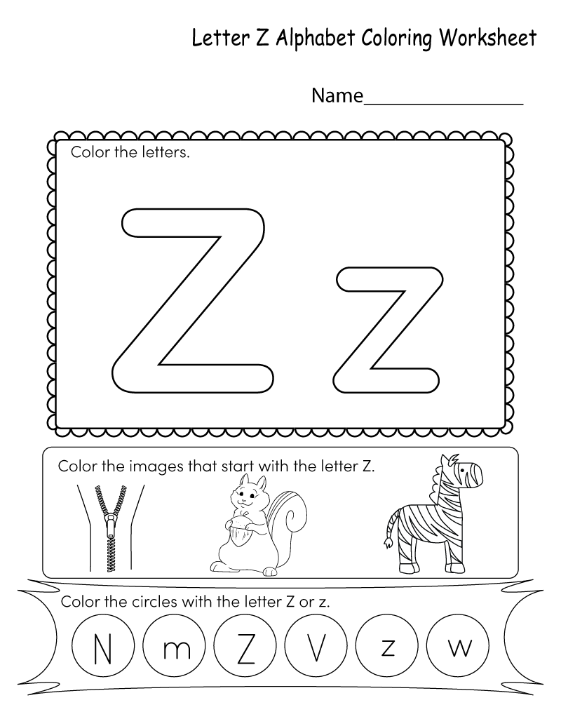 coloring letter z worksheets