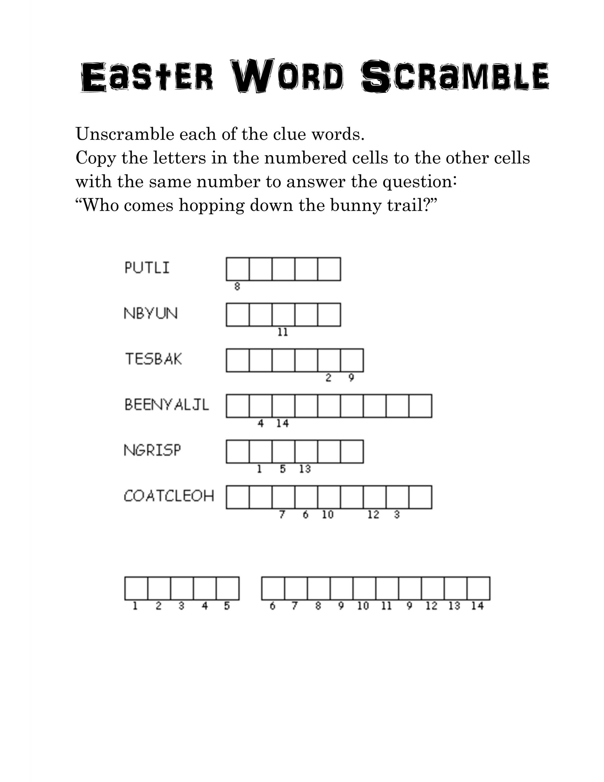easter word scramble for kids