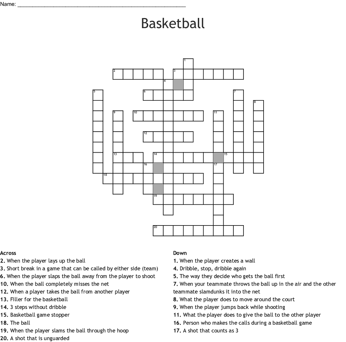 easy basketball crossword puzzle