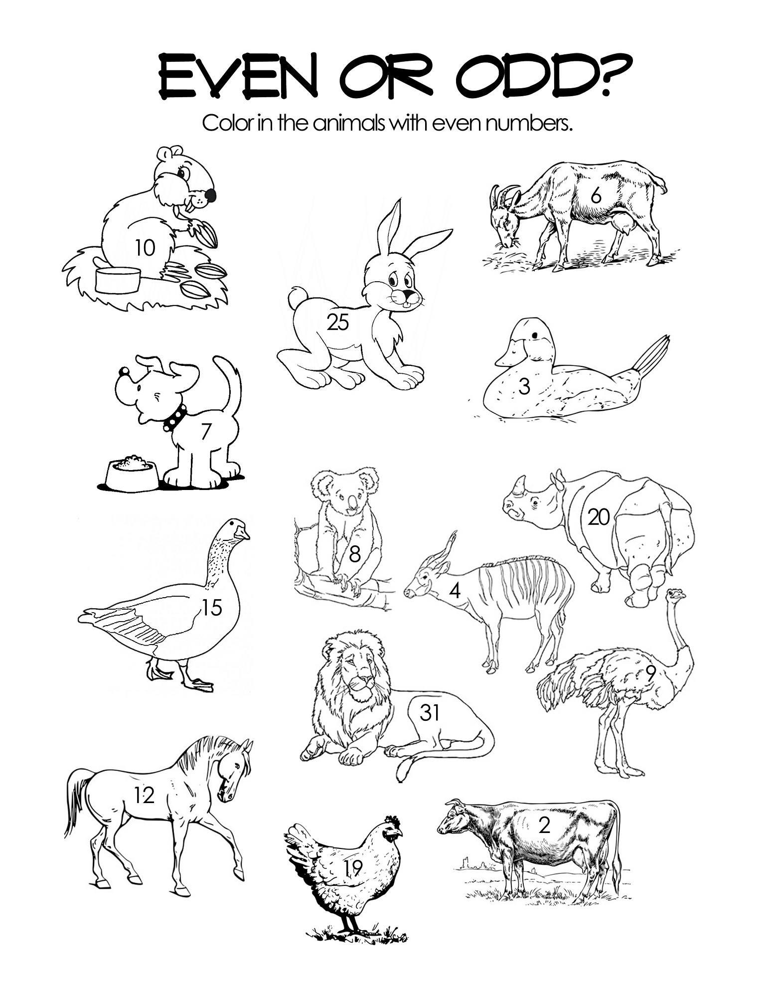 even and odd numbers worksheet coloring