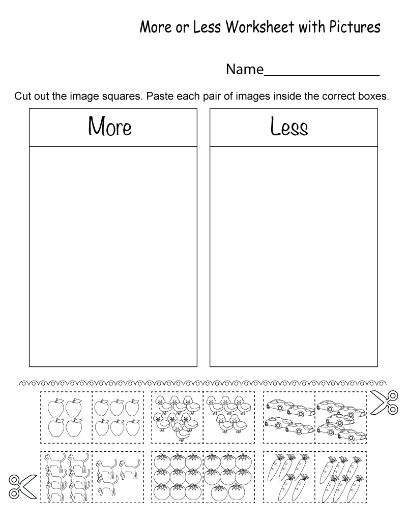 free more and less worksheets