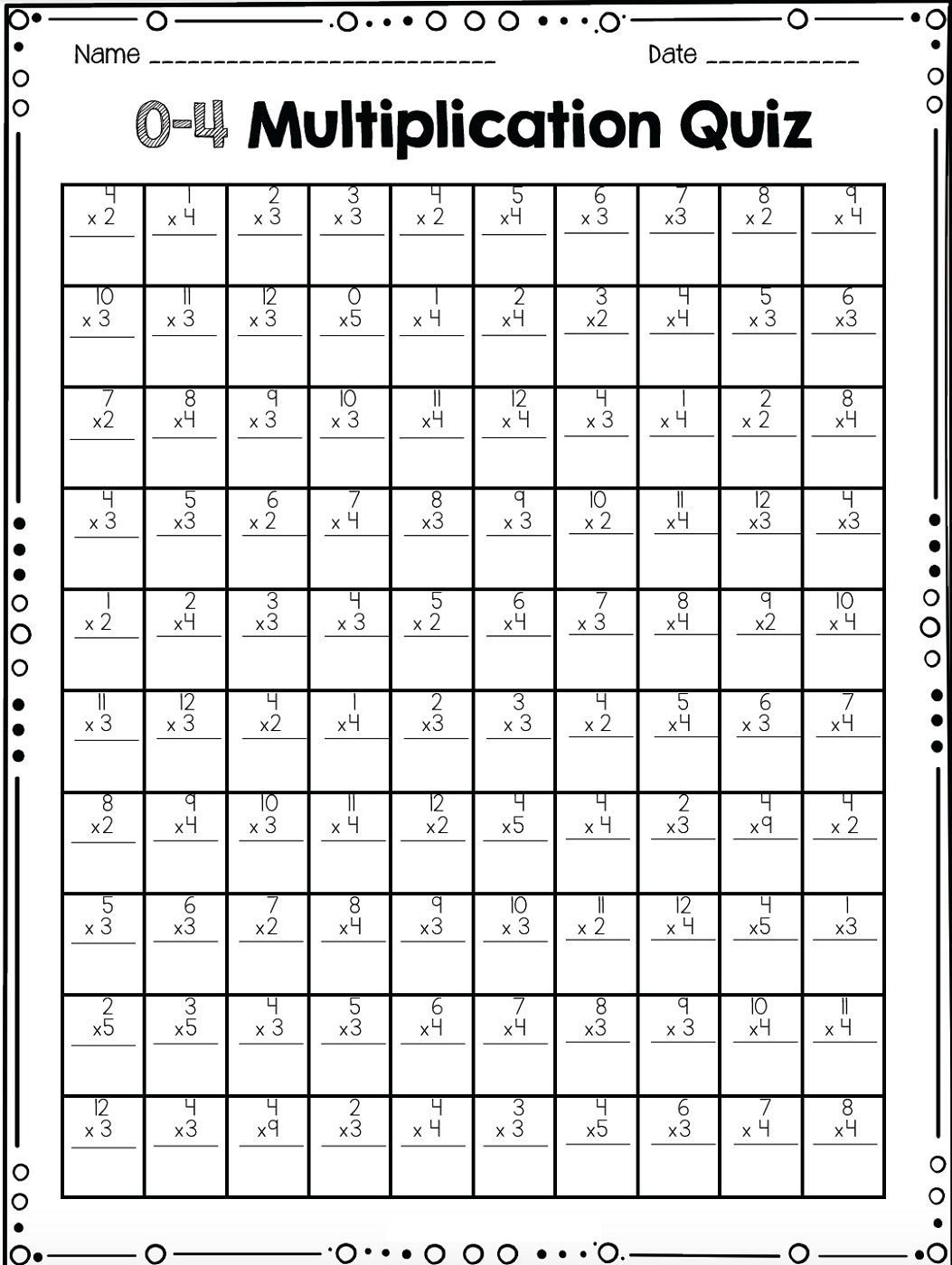 fun math quiz worksheet