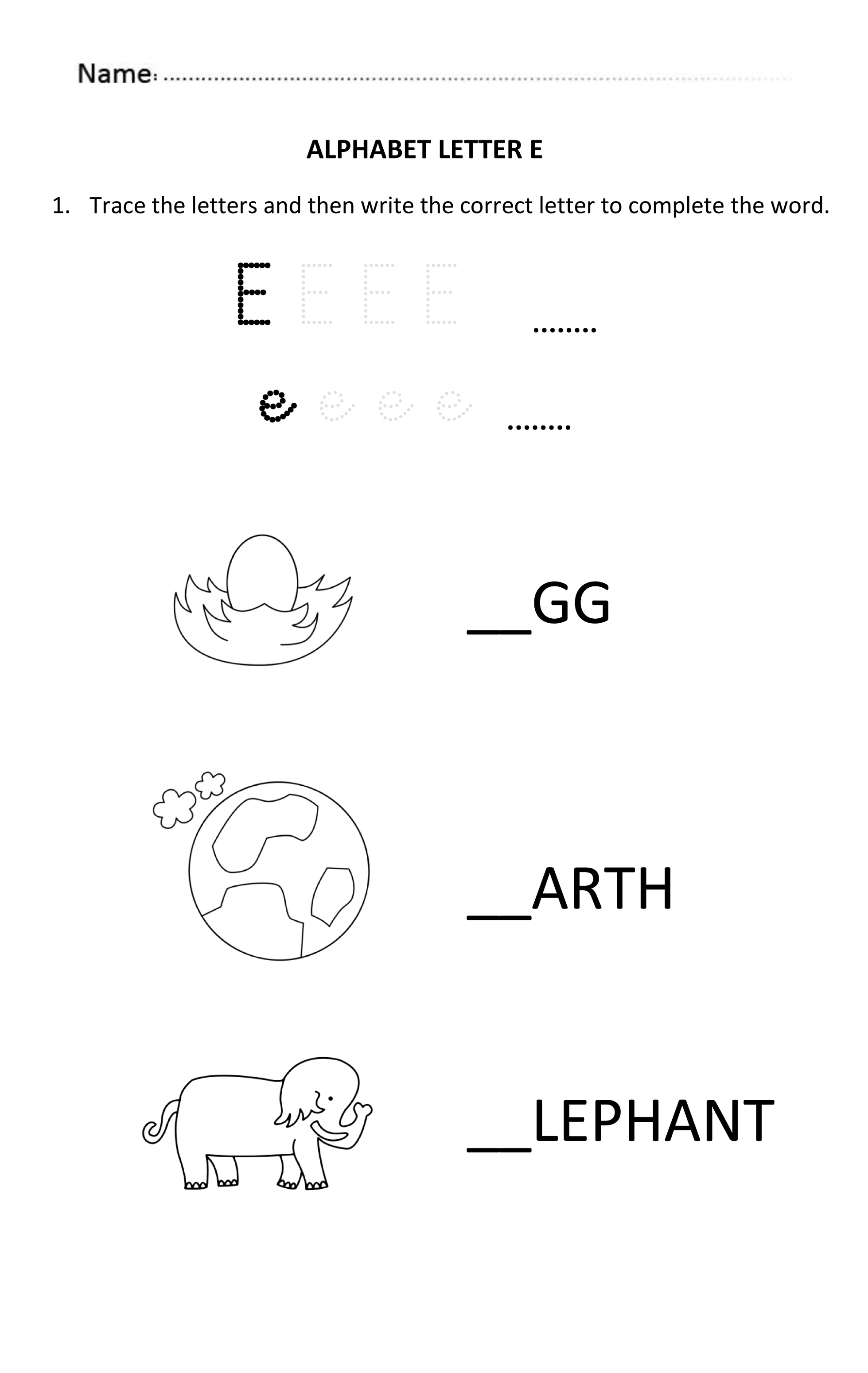 letter worksheets for 5 year olds