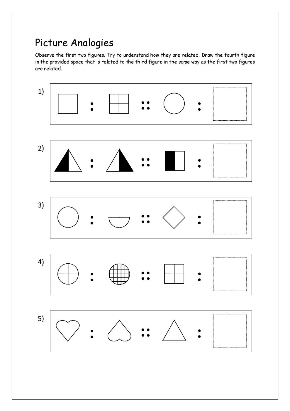 math analogies worksheet for kids