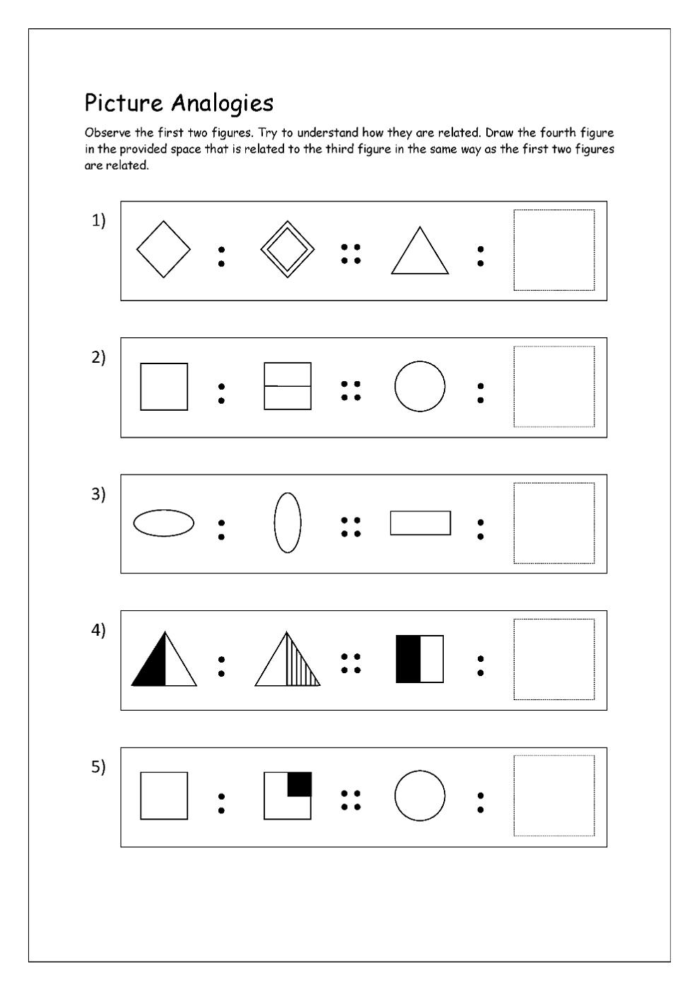 math analogies worksheet for kindergarten