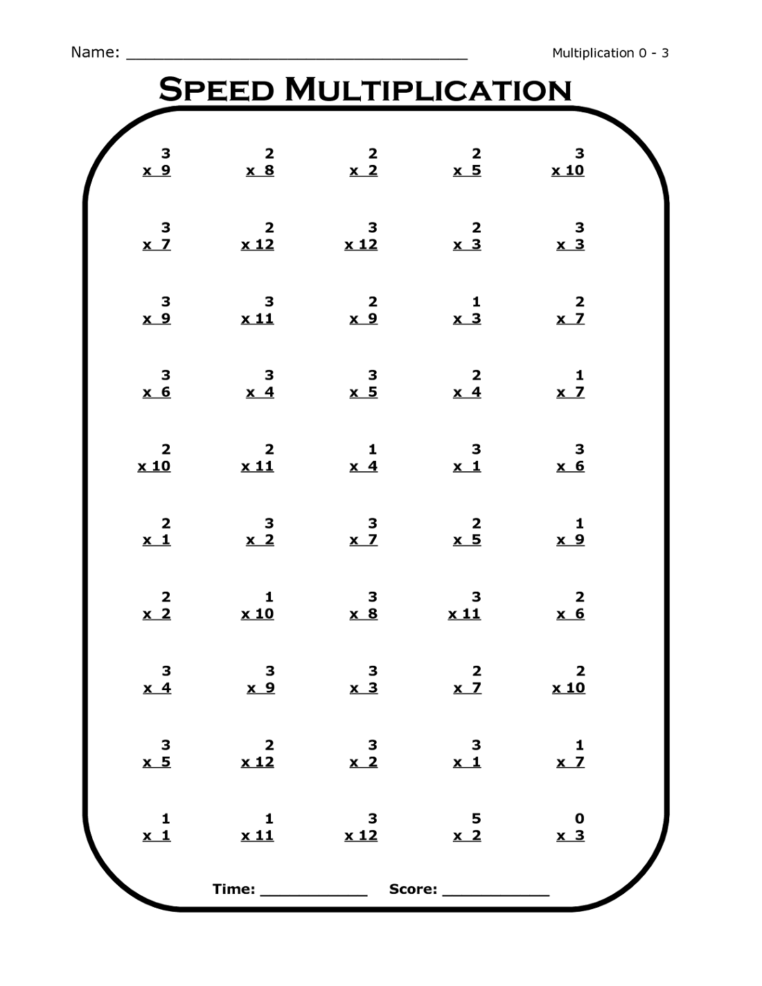 multiplication free math practice sheets