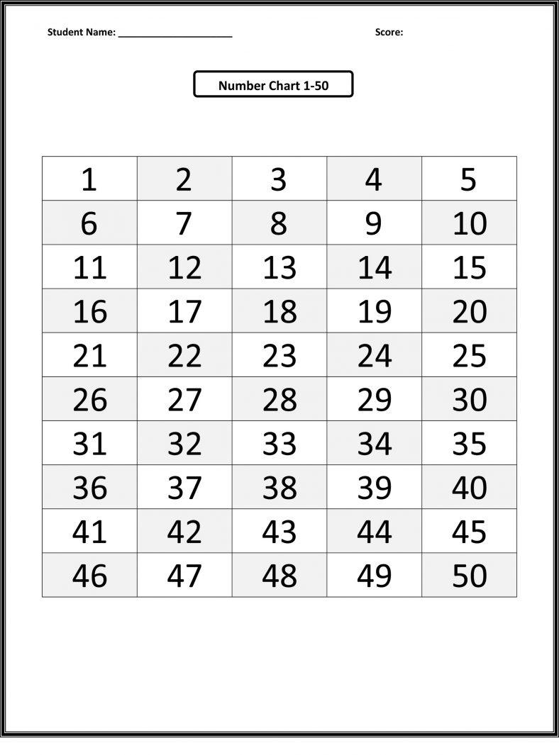 printable 1-50 number chart