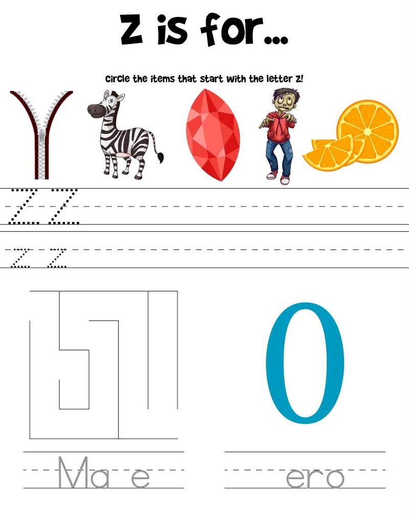 printable letter z worksheets