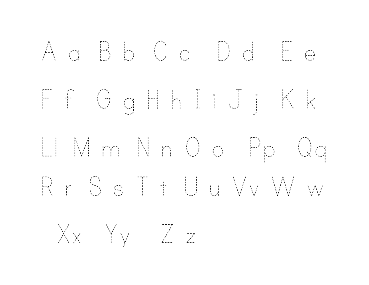 traceable alphabet worksheets a-z printable