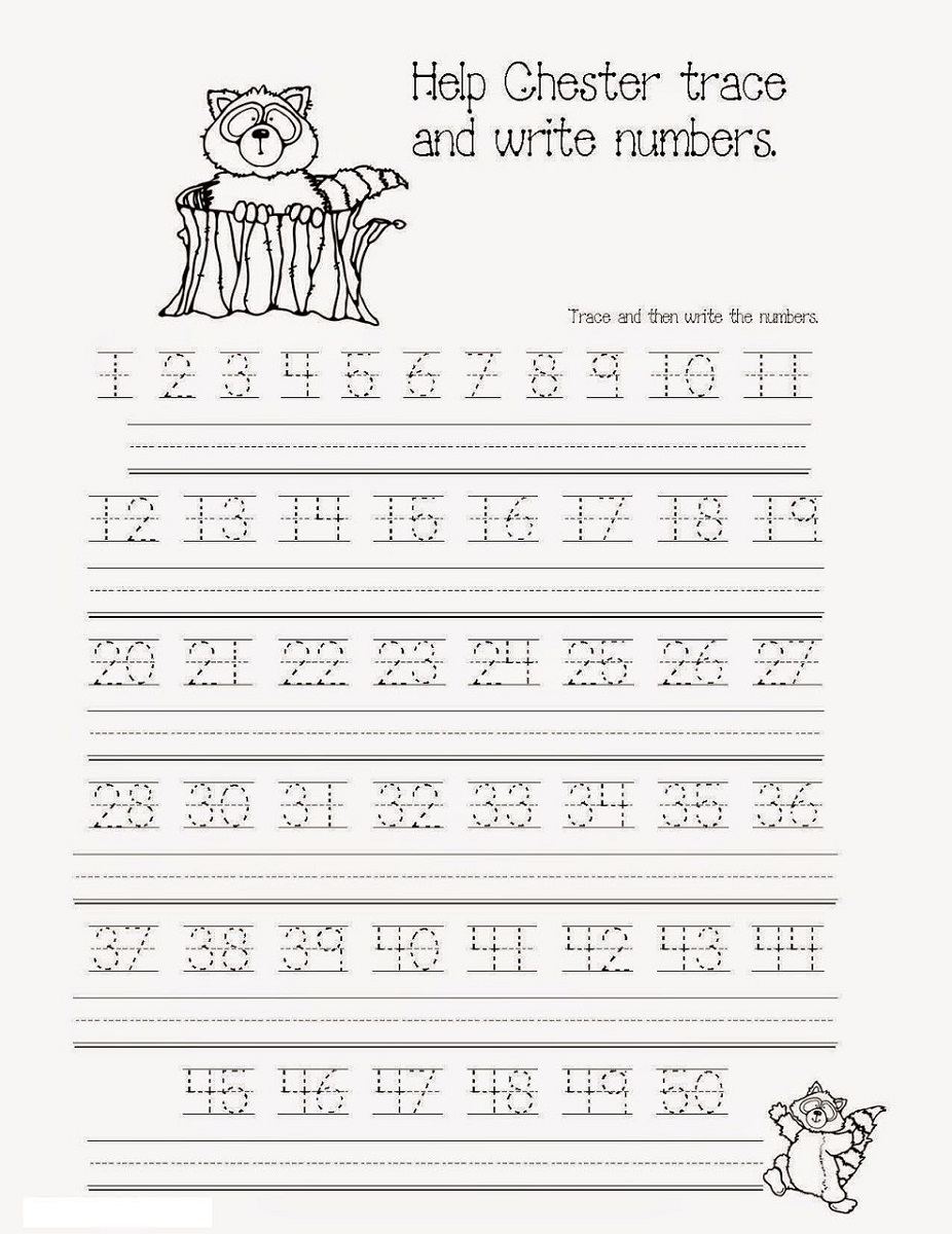 tracing 1-50 number chart