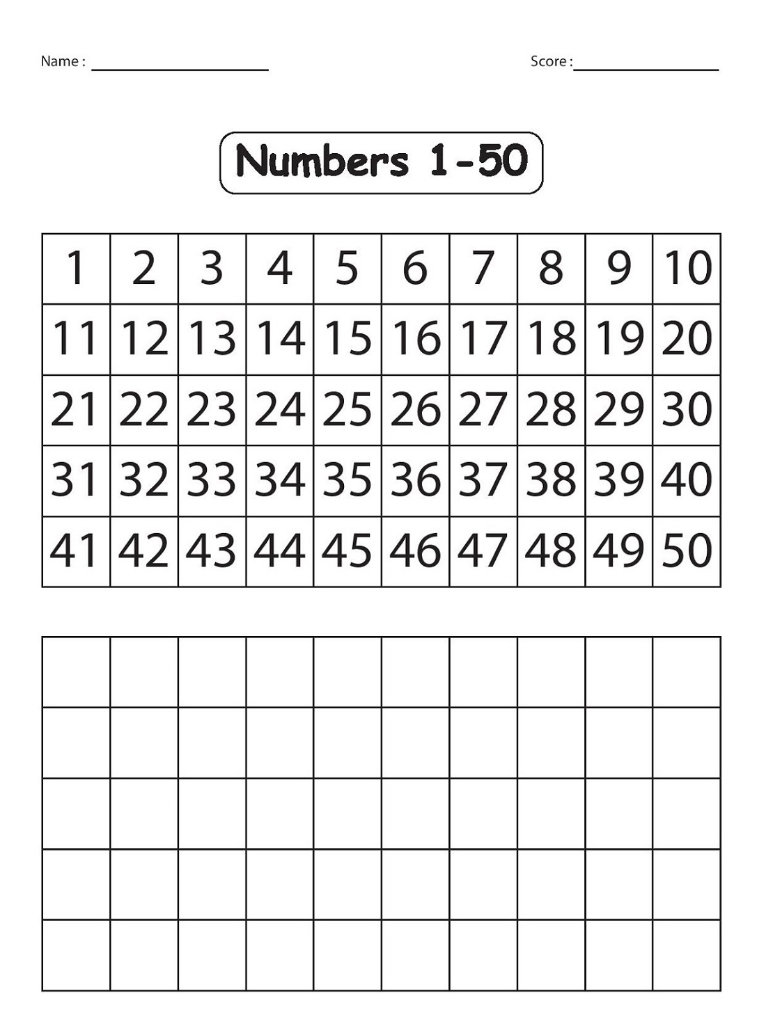 writting 1-50 number chart
