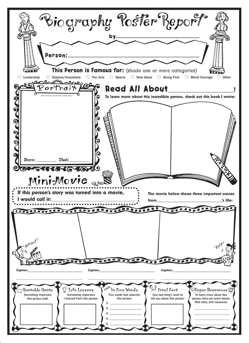 biography free printable children's book template