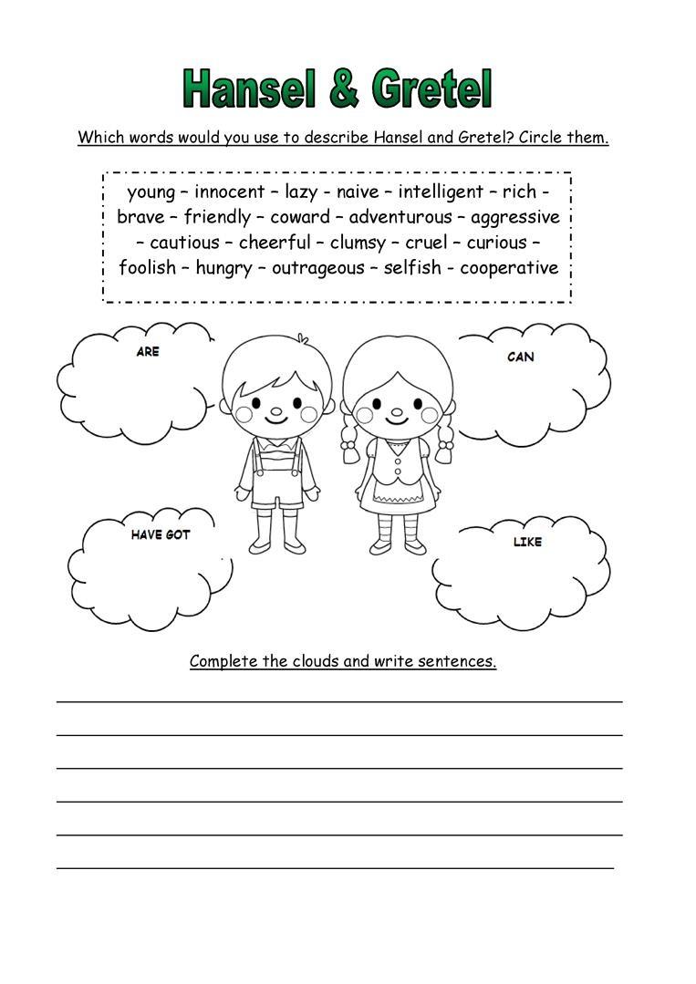 hansel and gretel worksheets for learning