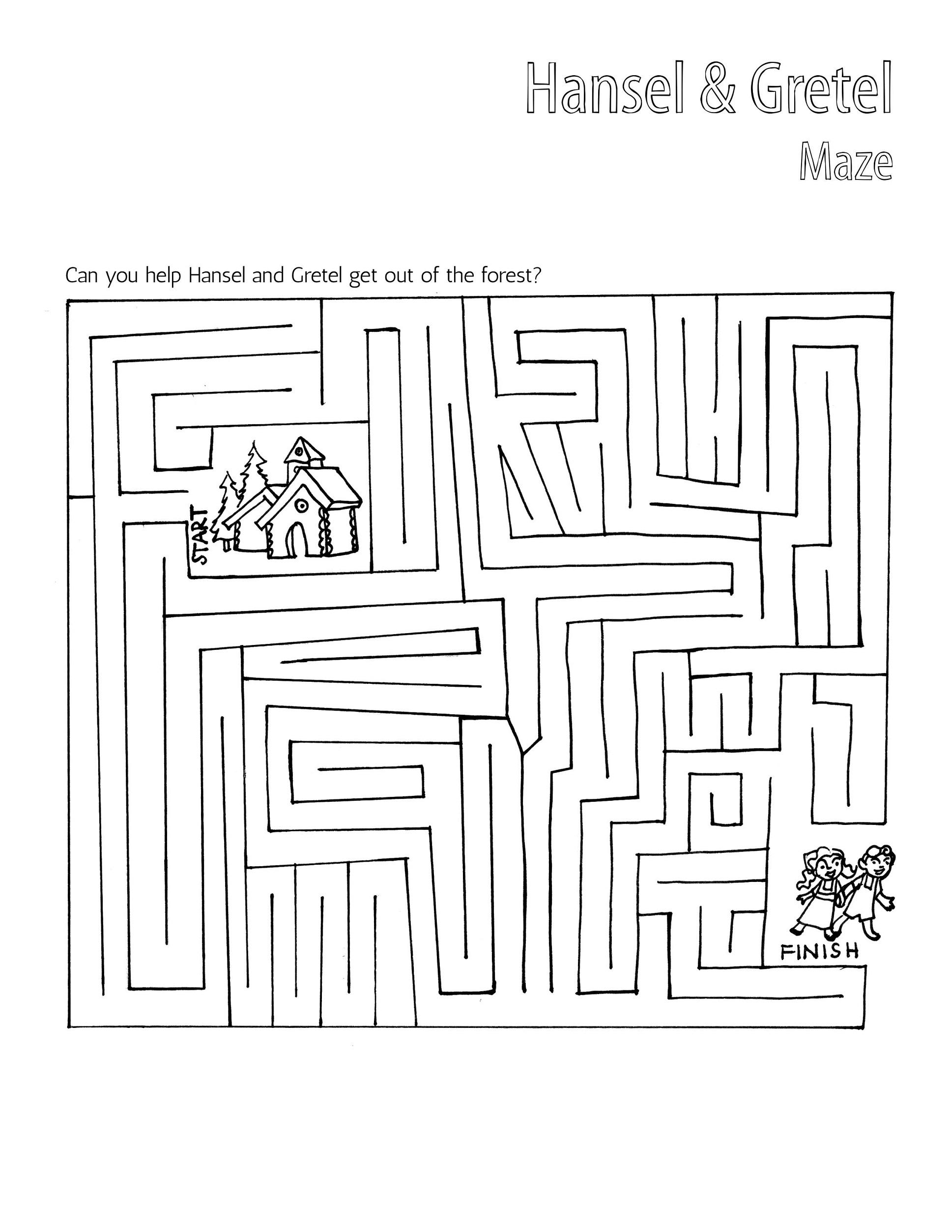 maze hansel and gretel worksheets